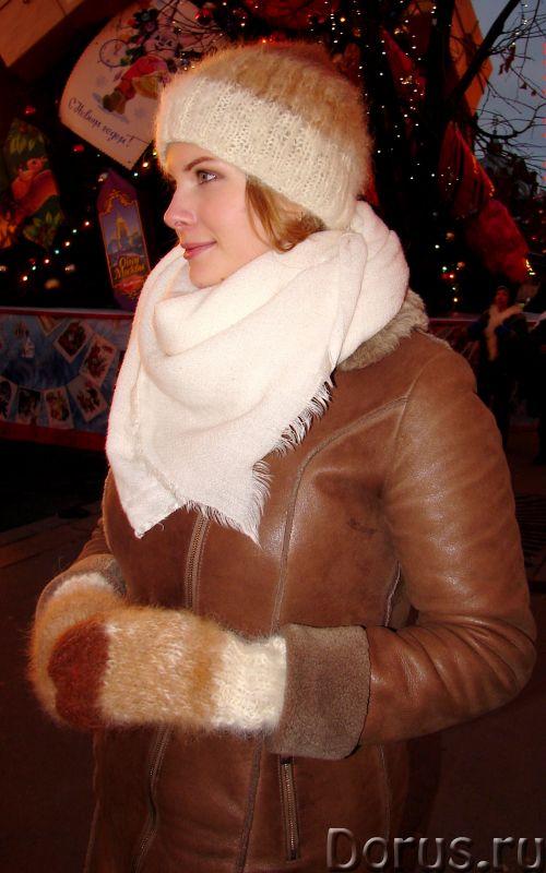 Комплект «Новогодний Капучино» из собачьего пуха ручного вязания - Одежда и обувь - Комплект «Нового..., фото 3
