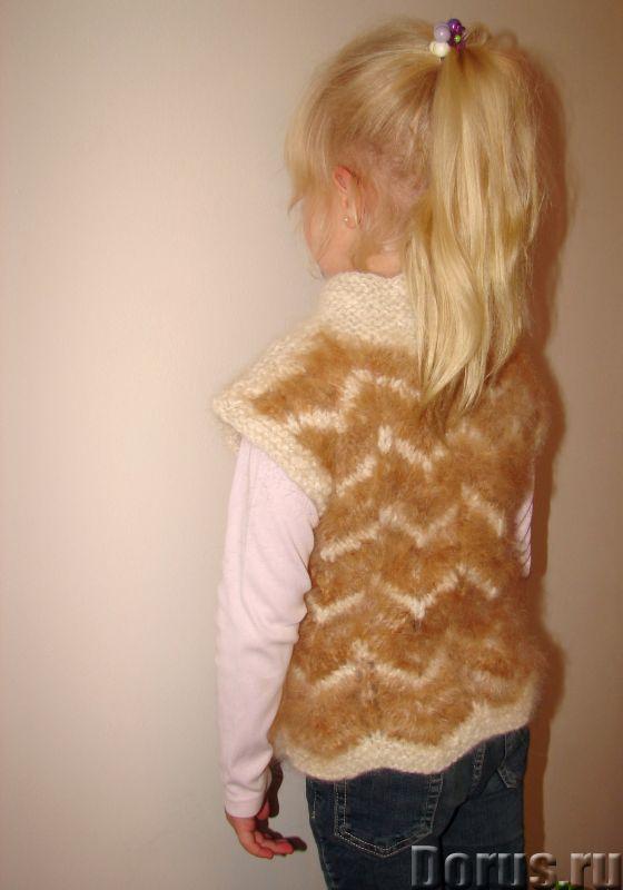 Жилетка «Пушистый Зубастик» для девочки вязанная.Шерсть собачья - Детские товары - Жилетка «Пушистый..., фото 2