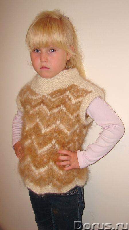Жилетка «Пушистый Зубастик» для девочки вязанная.Шерсть собачья - Детские товары - Жилетка «Пушистый..., фото 5