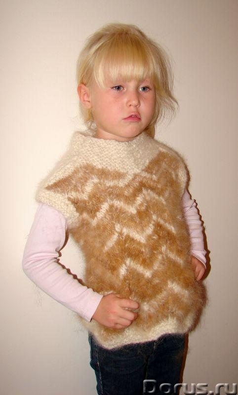 Жилетка «Пушистый Зубастик» для девочки вязанная.Шерсть собачья - Детские товары - Жилетка «Пушистый..., фото 6