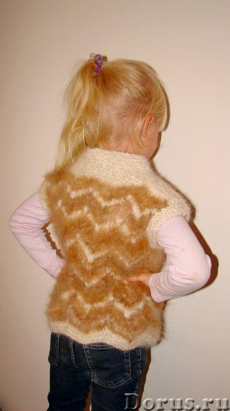 Жилетка «Пушистый Зубастик» для девочки вязанная.Шерсть собачья - Детские товары - Жилетка «Пушистый..., фото 8