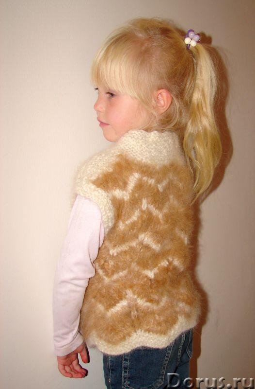 Жилетка «Пушистый Зубастик» для девочки вязанная.Шерсть собачья - Детские товары - Жилетка «Пушистый..., фото 9