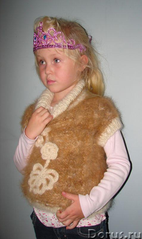 Жилет «Аленький Цветочек» для девочки вязанный .Шерсть собачья - Детские товары - Жилет «Аленький Цв..., фото 9