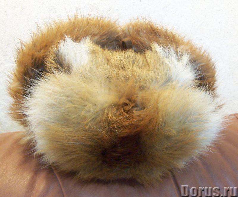 Классическая шапка-ушанка изготовлена из натурального меха лисы и натуральной кожи. Размер: 58 - Оде..., фото 1
