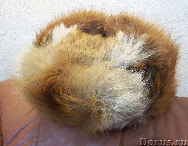 Классическая шапка-ушанка изготовлена из натурального меха лисы и натуральной кожи. Размер: 58 - Оде..., фото 3