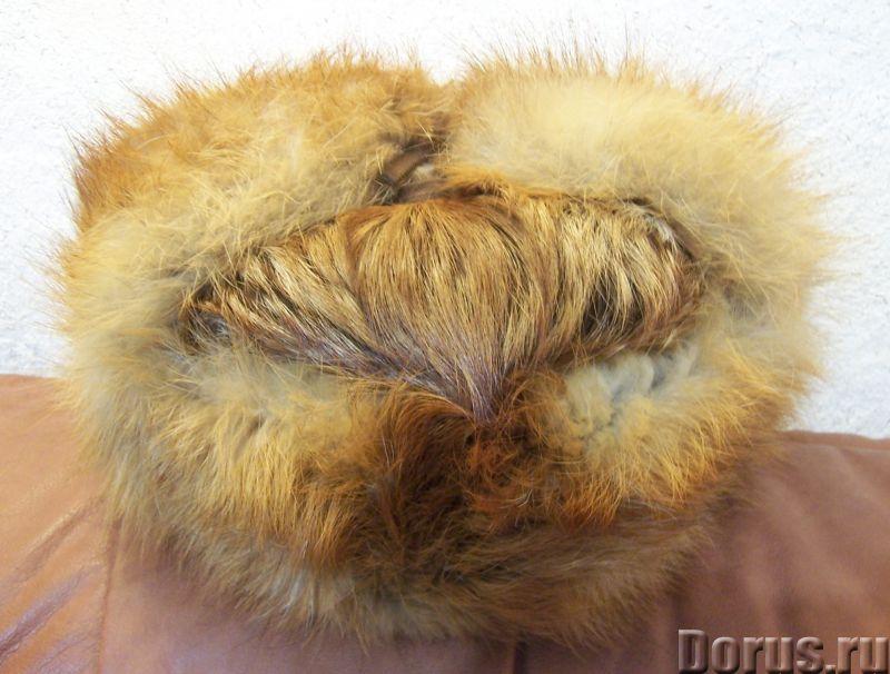 Классическая шапка-ушанка изготовлена из натурального меха лисы и натуральной кожи. Размер: 58 - Оде..., фото 4