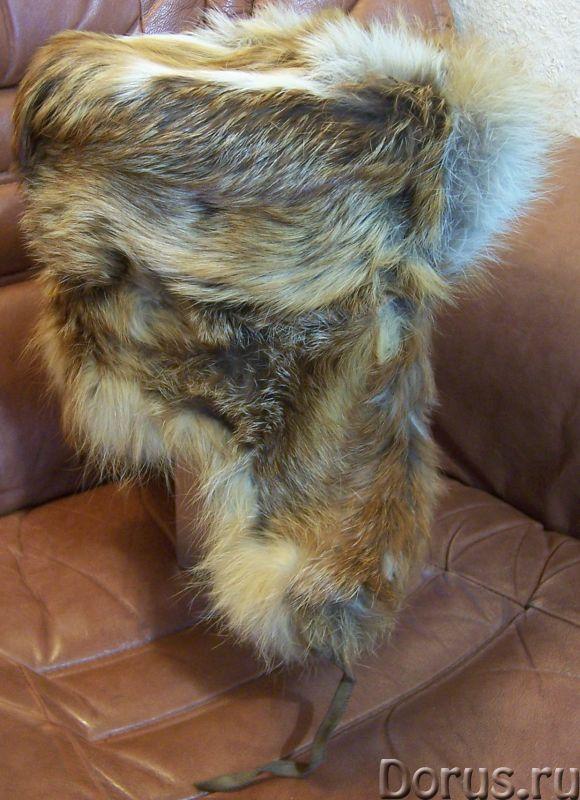 Классическая шапка-ушанка изготовлена из натурального меха лисы и натуральной кожи. Размер: 58 - Оде..., фото 6