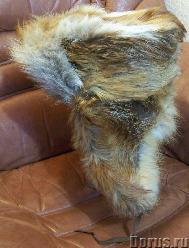Классическая шапка-ушанка изготовлена из натурального меха лисы и натуральной кожи. Размер: 58 - Оде..., фото 8